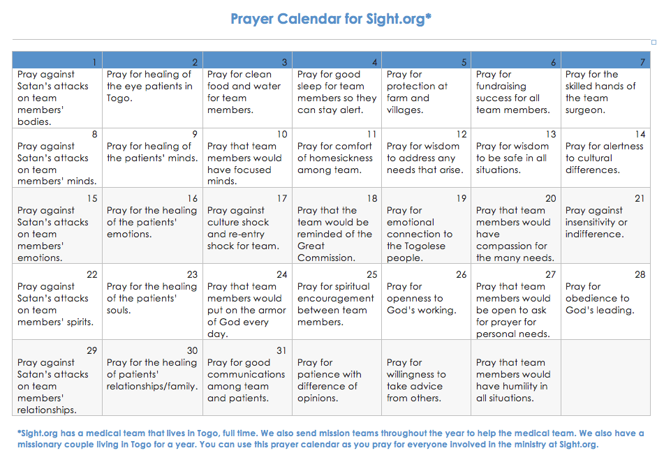 Calendar to help you pray for Sight.org