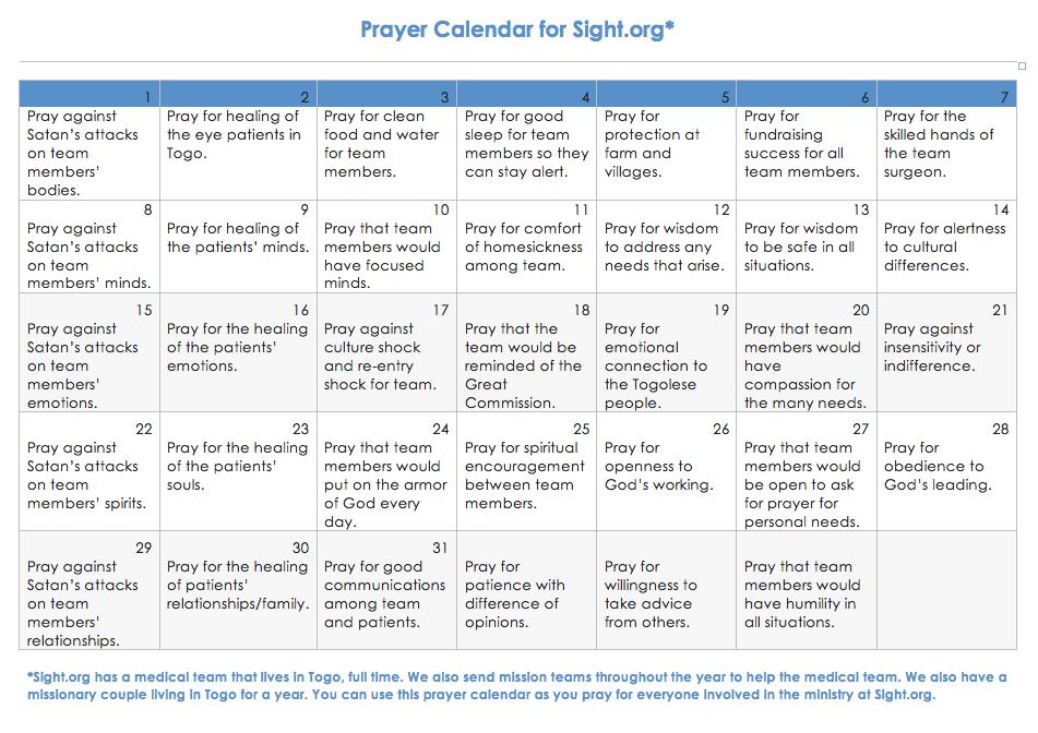 Calendar to help you pray for Sight.org